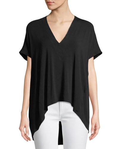 V-Neck Short-Sleeve High-Low Jersey Top