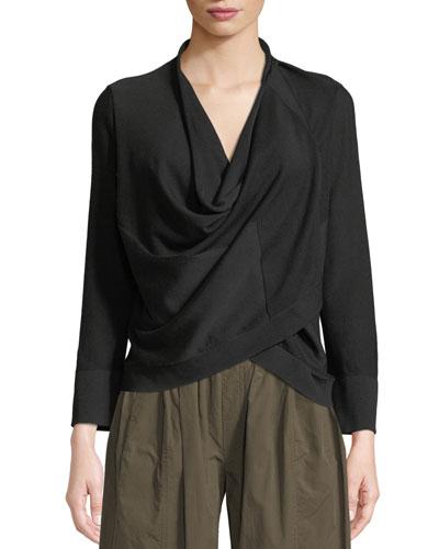Transformer Cowl-Neck Long-Sleeve Jersey Top