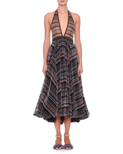 Sleeveless Plunging Rainbow-Stripe Metallic Gown w/ Bubble Hem