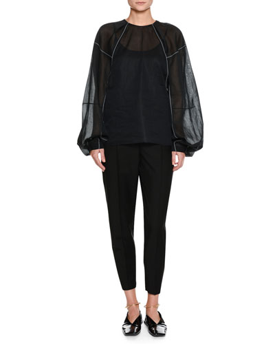 Full-Sleeve Round-Neck Blouse with Contrast Topstitching