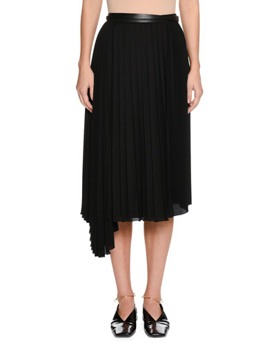 Enjeu Below-Knee Pleated Skirt with Leather Wrap Belt