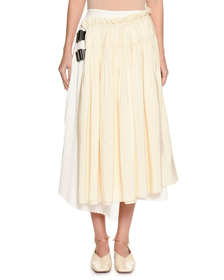 Jil Sander Gathered & Pleated Two-Tone Wrap Skirt with Leather Tabs