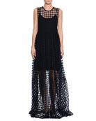 Round-Neck Sleeveless Trapeze Long Dress with Crochet Trim