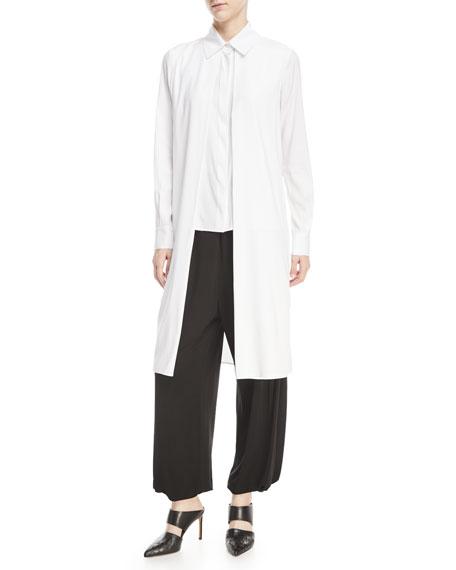 Rosetta Getty Long-Sleeve Split-Front Stretch-Silk Satin Shirt
