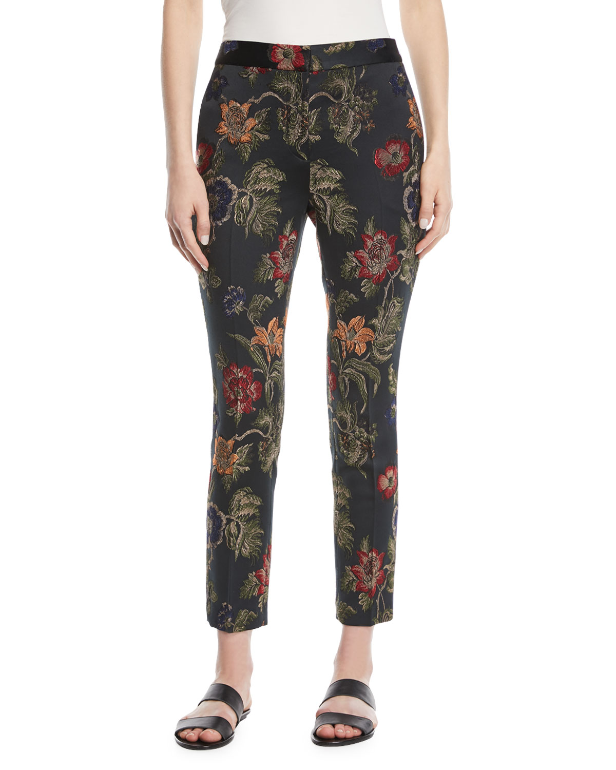 Floral-Jacquard Stretch Satin Skinny-Leg Trousers