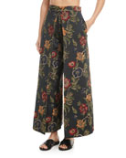 Pleat-Front Stretch Floral Satin Jacquard Culotte Pants