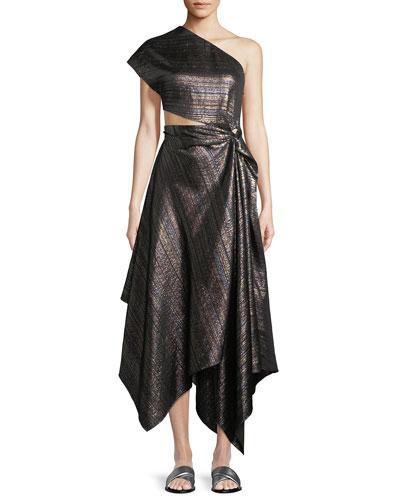 One-Shoulder Open-Side Striped-Metallic Twist Cocktail Dress