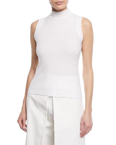 Turtleneck Sleeveless Mini-Rib Jersey Cotton Top