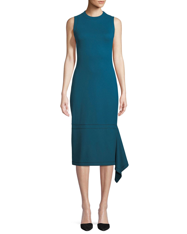 ROSETTA GETTY Sleeveless Body-Con Interlock Jersey Dress W/ Drape Panel in Blue