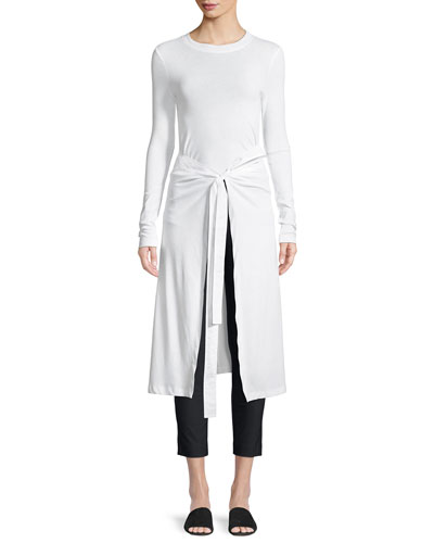 Long-Sleeve Apron Cotton Jersey T-Shirt
