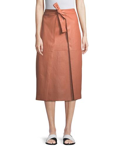 A-Line Lambskin Leather Invert Apron Wrap Skirt