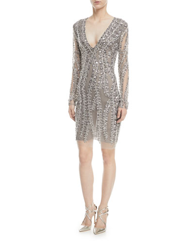 Deep-V Long-Sleeve Beaded-Vines Cocktail Dress