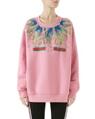 Long-Sleeve Crystal-Embroidered Felted Cotton Jersey Oversized Sweatshirt
