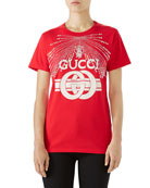 Cotton Jersey T-Shirt with G Buckle Print & Crystal Detail