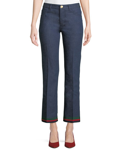 Rinsed Denim Straight-Leg Jeans with Ribbon Hem & Bunny Patch
