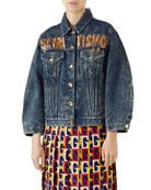 Spiritismo Button-Down Marbled-Denim Jacket