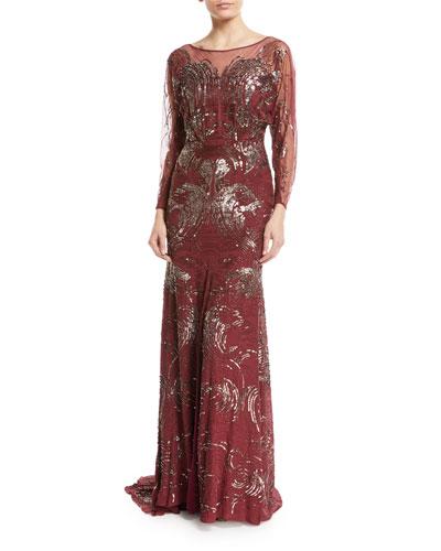 Long-Sleeve Swirl Sequin Beaded Evening Gown