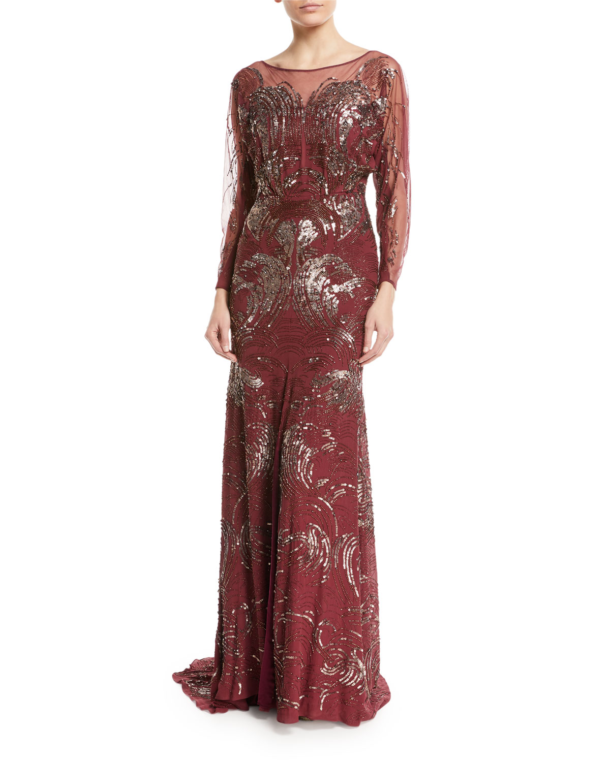 JENNY PACKHAM LONG-SLEEVE SWIRL SEQUIN BEADED EVENING GOWN, PURPLE ...