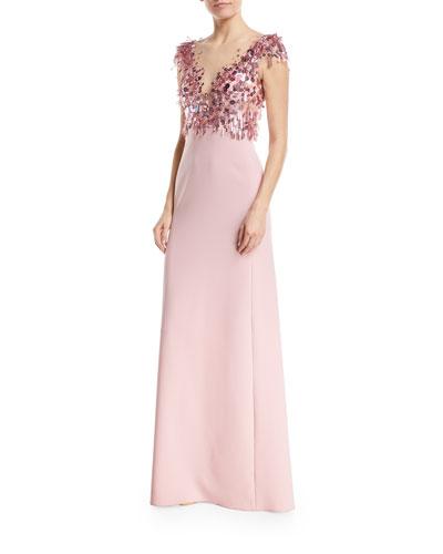 Crepe evening gown neiman marcus quick look junglespirit Choice Image