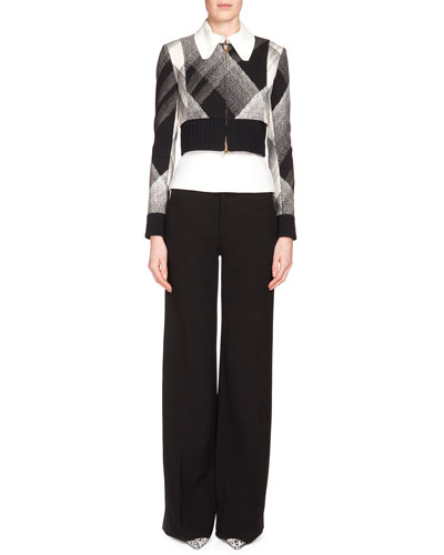 Cero Check Zip-Front Jacket, Black/White