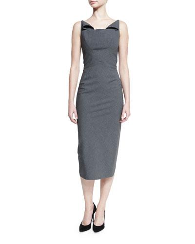 Sleeveless Neck-Flap Sheath Dress