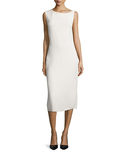 Sleeveless Asymmetric-Neck Bias-Cut Dress, Cream