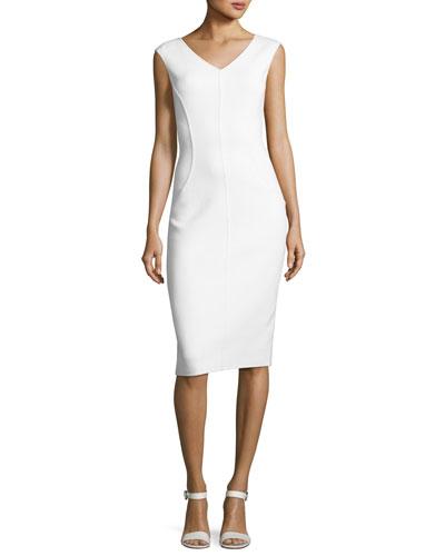 Cap-Sleeve V-Neck Sheath Dress