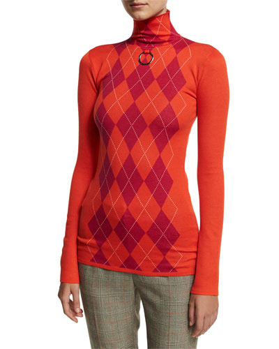 Argyle Wool Turtleneck Sweater, Pink/Red