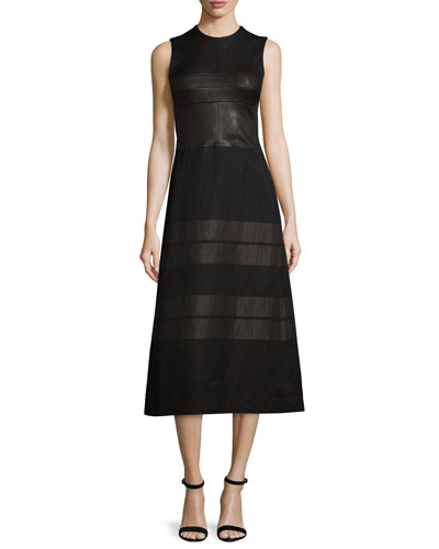 Sleeveless Contrast-Striped Midi Dress, Black/Bronze