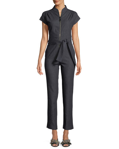 Cap-Sleeve Zip-Front Straight-Leg Denim Jumpsuit