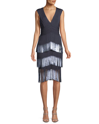 V-Neck Sleeveless Fringe Cocktail Dress w/ Dipped Foil Tips