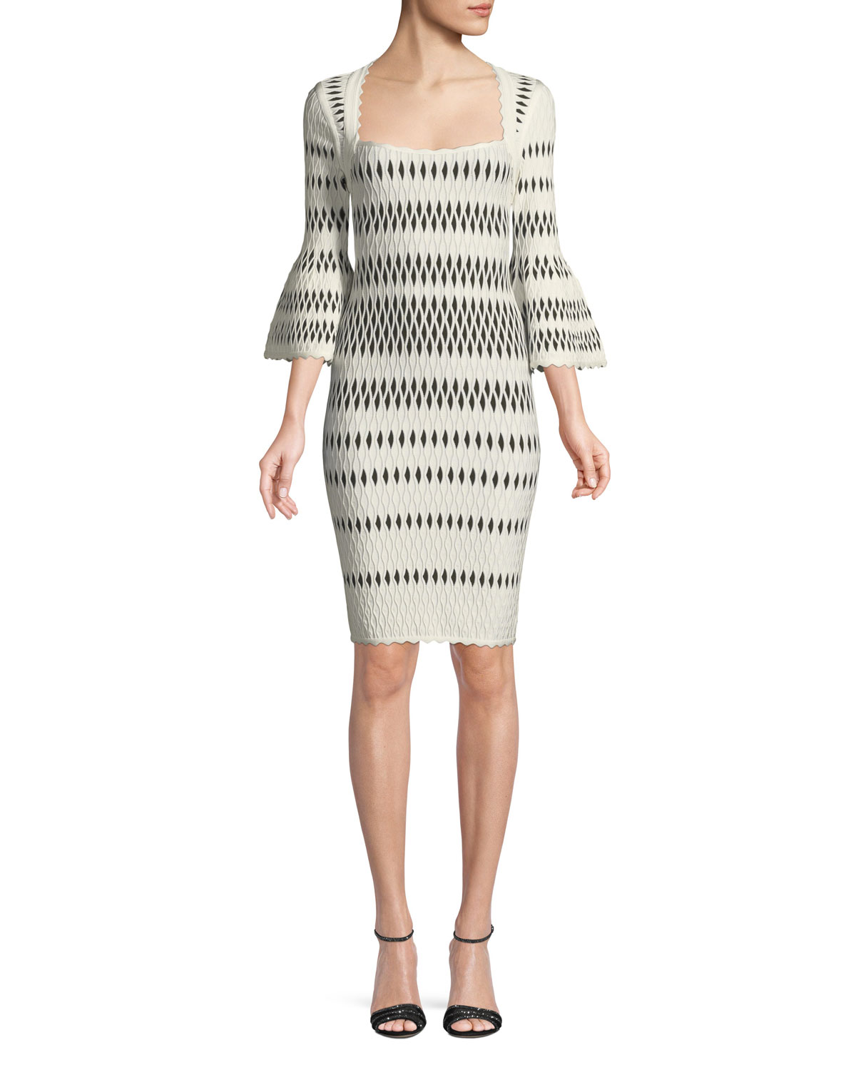 Herve Leger  BELL-SLEEVE WAVY JACQUARD BODY-CON COCKTAIL DRESS
