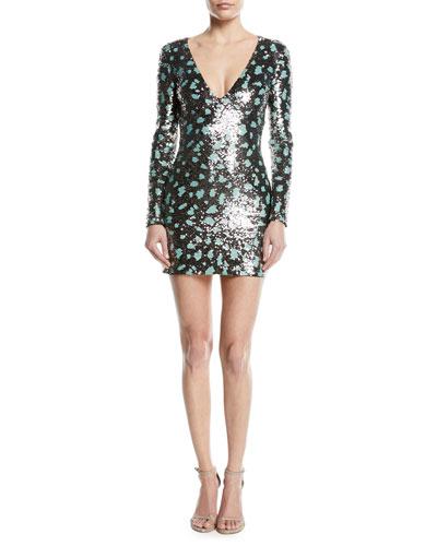 Long-Sleeve V-Neck Sequined Paillette Cocktail Dress
