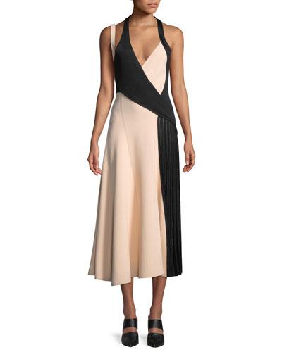 Bi-Color Macramé-Back Midi Dress