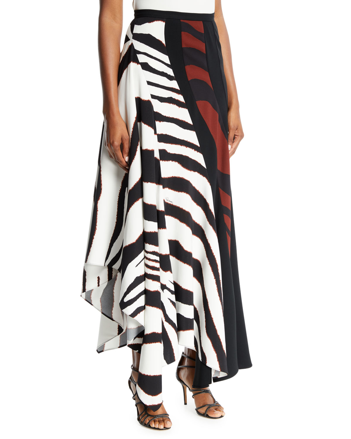 Multi-Shadow Zebra-Print Crepe Maxi Skirt