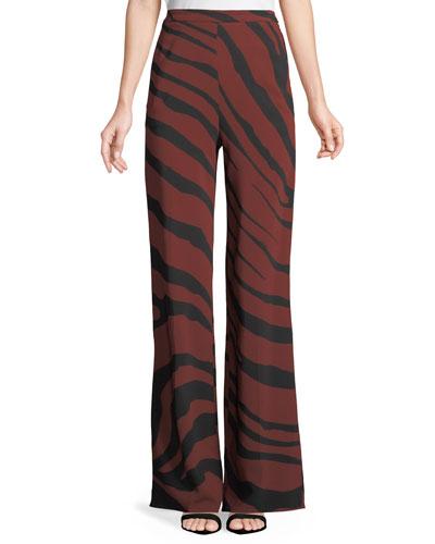 Wide-Leg Zebra-Jacquard Stretch-Crepe Pants