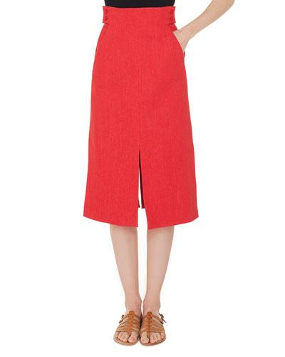 High-Waist A-Line Cotton-Stretch Denim Midi Skirt with Slits