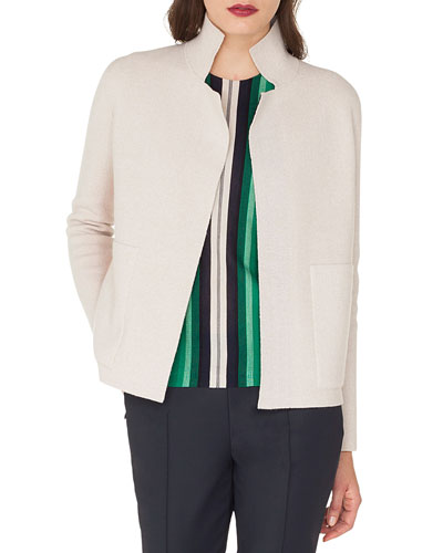 Open-Front Placed-Stripe Double-Face Cashmere-Knit Cardigan