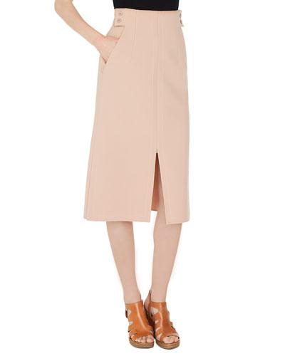 High-Waist A-Line Wool-Stretch Long Skirt w/ Slits