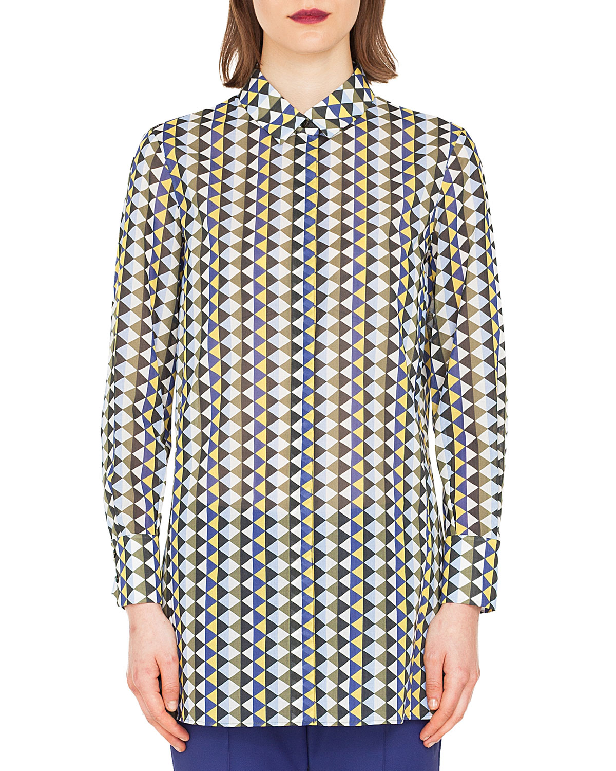 Akris Long Sleeve Button Front Diamond Stripe Cotton Voile Blouse | Top and Clothing