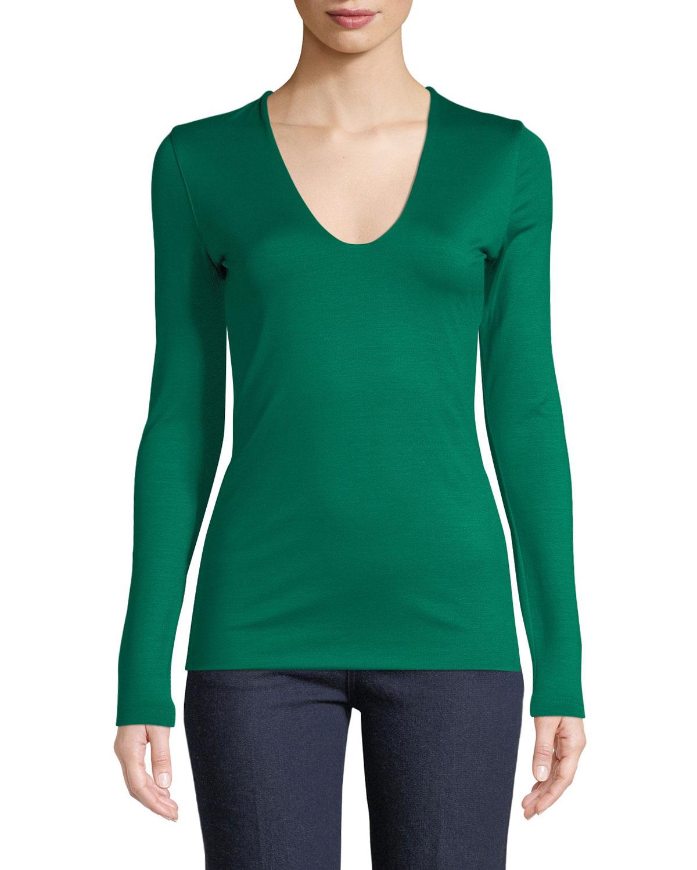 V-Neck Long-Sleeve Stretch-Jersey Top