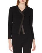 Saphir Short Cardigan-Style Jacket with Leather Trim