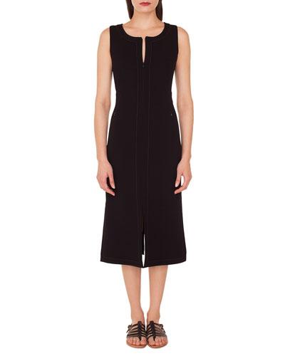 Sleeveless Round-Neck A-Line Stretch-Wool Midi Dress with Topstitching