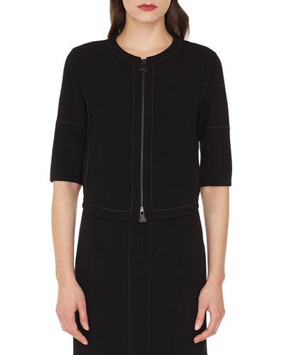 Ramona Round-Neck Zip-Front Stretch-Wool Jacket w/ Topstitching