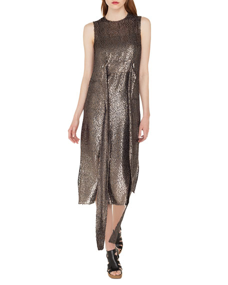 Akris Sleeveless Self-Belt A-Line Metallic Silk Devore Cocktail Dress