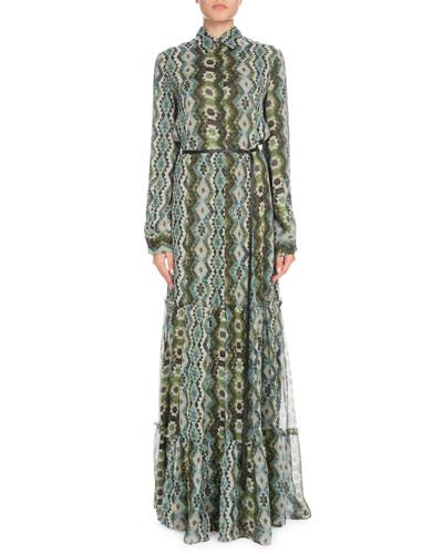 Long-Sleeve Printed Silk Creponne Maxi Dress
