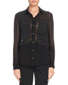 Button-Down Long-Sleeve Silk Georgette Shirt