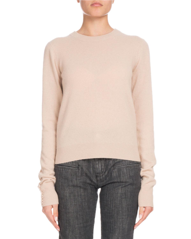 ALTUZARRA Crewneck Long-Sleeve Braided-Back Cashmere Sweater in Pink