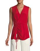 V-Neck Sleeveless Asymmetrical-Ruched Silk Blouse
