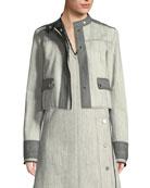Derek Lam Bicolor Snap-Front Cropped Denim Jacket